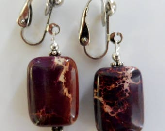 Clip On earrings-brown earrings-gemstone earrings-semiprecious earrings-silver-handcrafted-one-off-deep purple