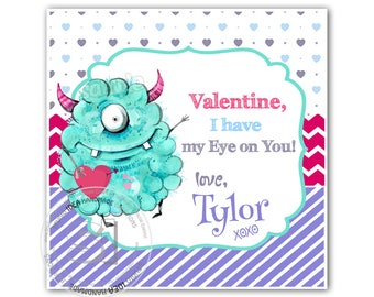 "Valentine's cute Monster 2.5"" Printable Tags-Happy Valentines Personalized Tags, funny Valentine (You Print) 2.5"" tags-stickers-Digital File"
