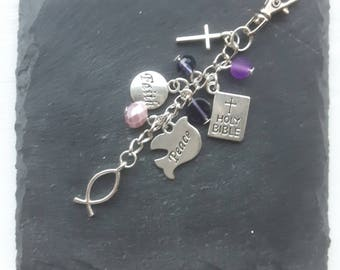 Christian bag charm - gift for a christian - christian gift - Faith gift - bible gift - baptism gift - religious gift - church gift
