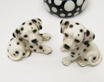 Vintage Ceramic Pair Of Dalmations, Signed Ceramic Dalmation Dog Figurines, Porcelain Dalmation Ornaments, Gifts for Dog Lovers