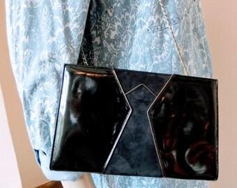 Original Vintage 80s Handbag Black Patent & Navy Blue Suede Shoulder Bag Clutch Purse