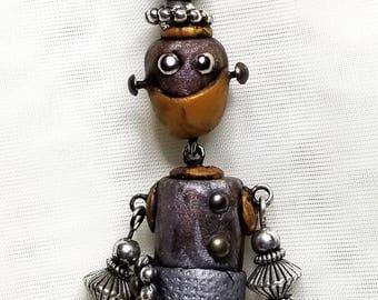 Bot Bling!  Miniature Robot Necklace.