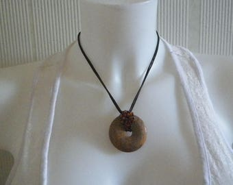 Landscape Jasper donut pendant necklace and beads