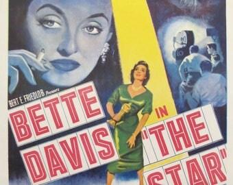 1952 Vintage Movie Poster for Bette Davis The Star - Mid Century Modern Art