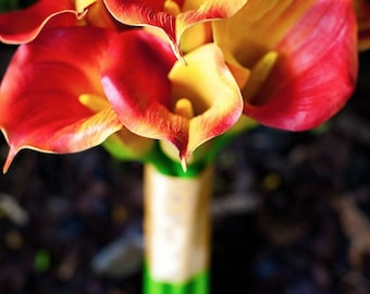 Yellow/red/orange, bouquet, Real Touch flowers, silk, calla lily/lilies, wedding, Fall, Autumn