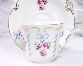 VSC Hand Painted Cup and Saucer with Rose and Bow