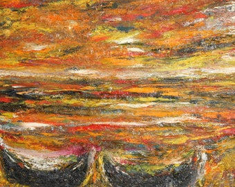 European art oil painting expressionism seascape signed