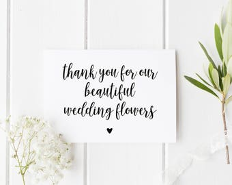 Wedding Florist Thank You Card, Card For Wedding Flowers, Thank You For Our Beautiful Flowers, Card For Wedding Florist, Wedding Thankyou