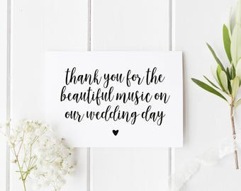 Wedding Band Thank You Card, Wedding Choir Thank You, Thank You For The Beautiful Music Card, Card For DJ, Wedding Vocalist Thank You Card