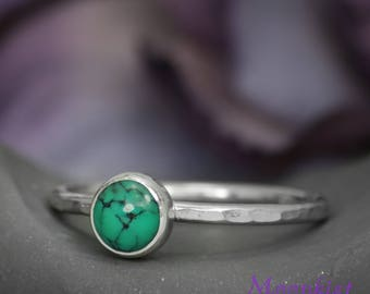 Turquoise Gem Ring in Sterling - Delicate Silver Turquoise Stacking Ring - Dainty Bezel Set Turquoise Ring - Turquoise Fashion Ring