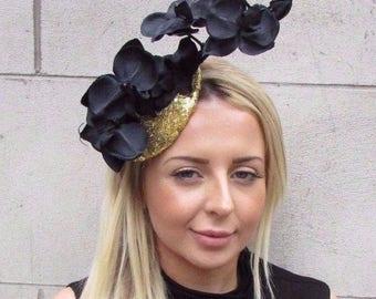 Black & Gold Sequin Orchid Flower Fascinator Hat Races Hair Clip Vintage 3137