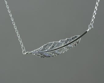 Feather necklace, silver feather necklace, sideways feather necklace, sterling silver feather necklace, everyday jewelry, layered, handmade