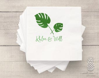Tropical Palm Wedding Napkins | Weddings | Bridal Showers | Engagement Parties | Hot Stamp Metallic Foil | Personalized Bride Groom Napkin