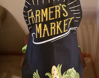 Farmers Market Tea Towel Apron, Vegetable Apron, Adjustable Apron, Full Apron, One of a Kind, Ready to Ship, MarjorieMae Shop