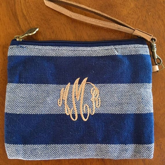 Monogram Wristlet Personalized Clutch Monogrammed Wallet Purse Navy Striped Wristlet Monogrammed Gifts Bridesmaids Gifts Highway12Designs