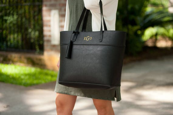 Monogrammed Bags Black Monogrammed Purse Black Handbag with Tassel Trim Monogrammed Gifts Personalized Weddings Highway12Designs