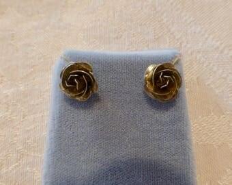 Vintage Sterling Silver Rosebud Earrings 7mm
