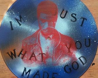 Kid Cudi Silkscreened On Repurposed Spray Paint Vinyl Record