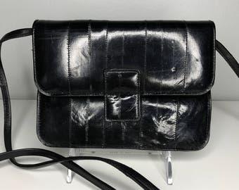 small vintage black eelskin purse/clutch