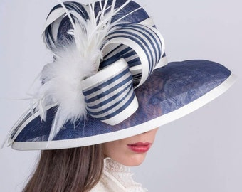 Royal Ascot wide brim hat, Kentucky derby hat, Melbourne cup hat, Summer sun hat, Wedding hat, Audrey Hepburn hat, elegant widebrim hat