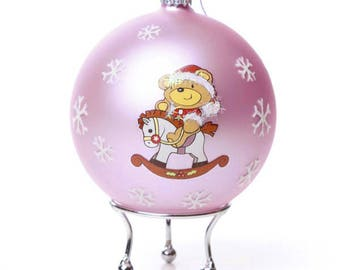 Pink Handpainted Glass Christmas Rocking Horse Bauble