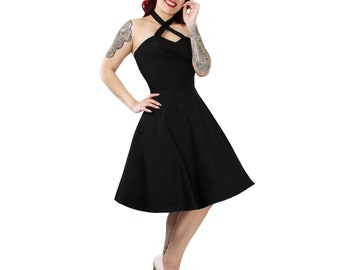 Black Criss Cross Halter Dress XS-3XL