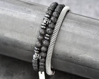 Mens bracelet, mens skull bracelet, Men's lava bracelet, men beaded bracelet, beads bracelets,stack bracelets
