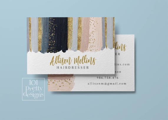 watercolor business card design navy blush printable business card