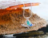 Ocean necklace, Beach themed necklace, Wave jewelry, Wave Necklace, Sea Glass Necklace, Mixed sea glass, Wave locket necklace, Sea necklace
