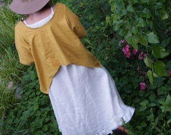Linen Cotton Blend Crop Top Mustard ,Teal , Tina Givens