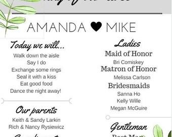 Infographic Wedding Program *Custom*