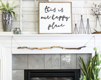 Shiplap Sign - This is Our Happy Place - Wood Sign - Wooden Signs - Large - Living Room - Home Decor - Shiplap - Fixer Upper - Farmhouse
