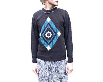 Vintage 1980's Southwestern Sweater by Concrete - Native American Tribal Pattern - Aztec Evil Eye - Men's Size Medium (M)