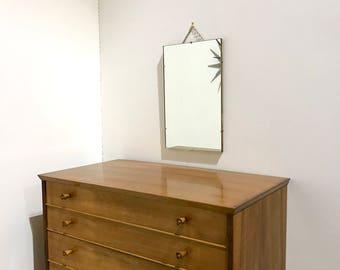 60s Small unframed Wall Mirror with chain