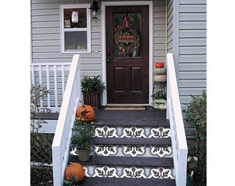 """Stair Riser Stickers - Removable Stair Riser Vinyl Decals - Verona Pack of 6 in Grey - Peel & Stick Stair Riser Deco Strips - 48"""" long"""