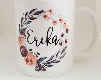 Personalized Coffee Cups - Pretty Coffee Mugs - Mug with Name - Large Coffee Mugs -  Cute Coffee Cup - Wreath mug - Personalized Ceramic Mug