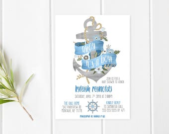 Baby Shower Invitation, Baby Shower Invitation Printable, Ahoy It's a Boy, Baby Shower Invitation Nautical, Nautical Baby Shower, Boy [24]