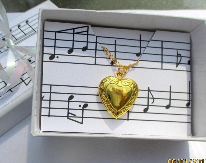 Gold heart locket-childrens-heart locket-Girls birthday gift-Flower girl necklace-girls heart jewelry-flower girl gift-little girls Locket