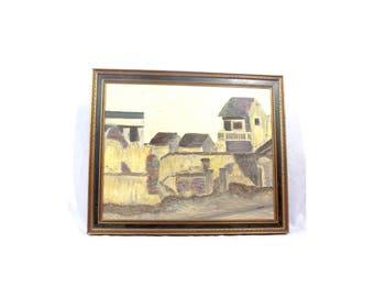 Vintage Framed Oil on Board Painting Signed  Pratt, Pratt Painting, Vintage Oil Painting, House Painting, Landscape Painting, City Painting