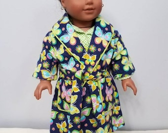 """4-piece flannel sleepwear set. Includes pajamas, robe and slippers. Fits American Girl and other 18"""" dolls."""
