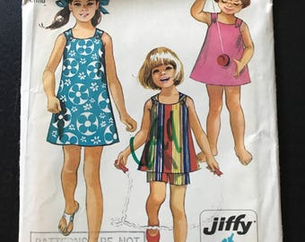 Simplicity 8815 - 1970s Girl's Jiffy Sleeveless Summer Dress or Top and Shorts - Size 3 Chest 22