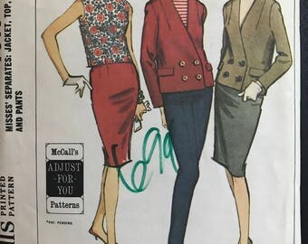 McCalls 7615 - 1960s Double Breasted Jacket, Sleeveless Top, Slim Skirt, and Pants - Size Bust
