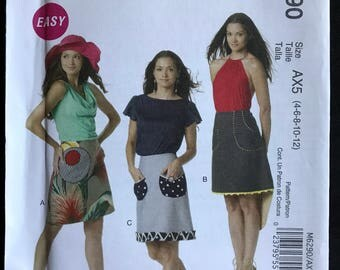 McCalls M6290 - Easy to Sew Flirty A-Line Skirt in Knee Length with Contrast Pockets and Trim Options - Size 4 6 8 10 12 OR 12 14 16 18