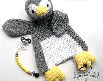 Large plush baby grey knit Penguin, Penguin crochet rag doll, cuddle buddy large handmade in Quebec