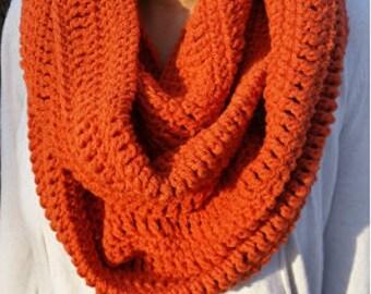 Pumpkin Infinity Scarf, Orange Infinity Scarf, Pumpkin Scarf, Orange Scarf, Pumpkin Crochet infinity Scarf, Orange Crochet Infinity Scarf