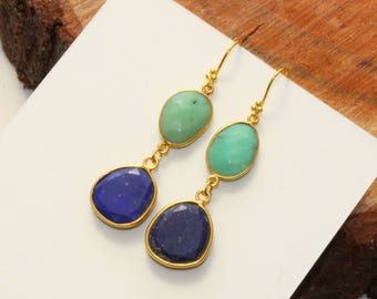 "2.36"" Natural Chrysoprase & Lapis Lazuli Bezel Set Rose Cut Gemstone Earrings / Gold Earring / SeptemberBirthstone /Gemstone Earring /NER500"
