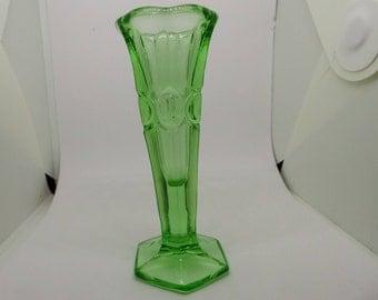 Small green glass vase , vintage glass bud vase , retro green home decor