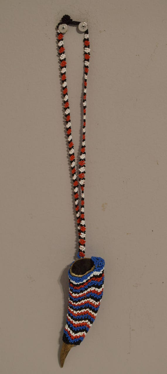 African Zulu Healers Goat Horn Beaded Pendant Collectible Vintage Diviner Horn Necklace
