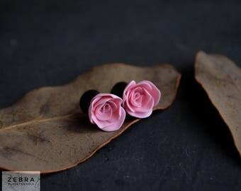 """Peony flowers plugs Weddings Ear piercing gauges 8,10,12,14,16,18,20,22,24,26,28,30mm;0g,00g;5/16"""",3/8"""",1/2"""",9/16"""",5/8"""",3/4"""",7/8"""",1 1/4"""""""