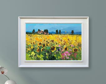 Landscape Painting Sunflowers Art Sunflowers Painting Oil Original Canvas Painting Tuscany Painting Landscape Painting Impressionist Art